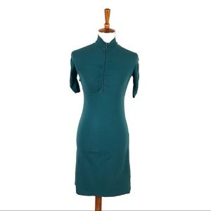 Athleta Teal Turquoise Tight Fit 1/2 Sleeve Dress